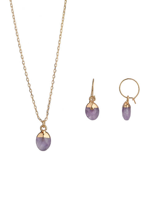 Gold Tone Fine Silver Plated Amethyst Pendant Necklace and Earring Set
