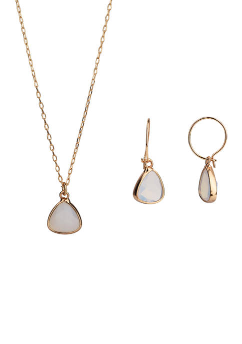 Gold Tone Fine Silver Plated Opal Pendant Necklace and Earring Set