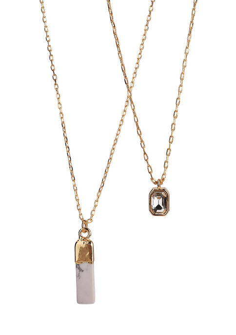 Gold Tone Fine Silver Plated 2 Row Necklace with Howlite Stone