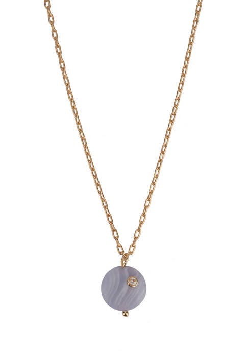 Gold Tone Fine Silver Plated Blue Lace Agate Pendant Necklace