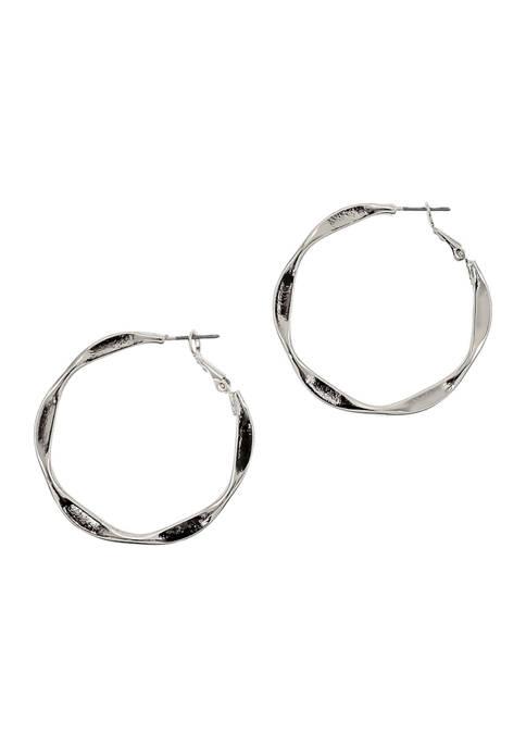 New Directions® Silver Angular Hoop Earrings