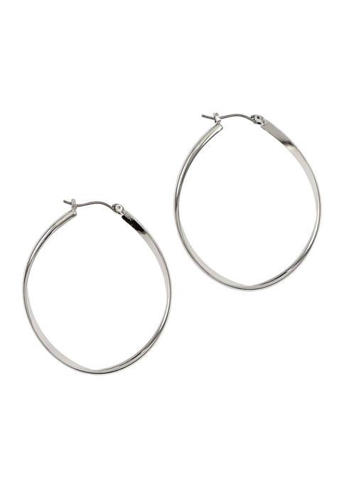 Oval Wave Hoop Earrings