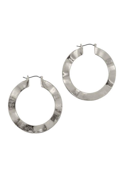 Flat Wavy Hoop Earrings