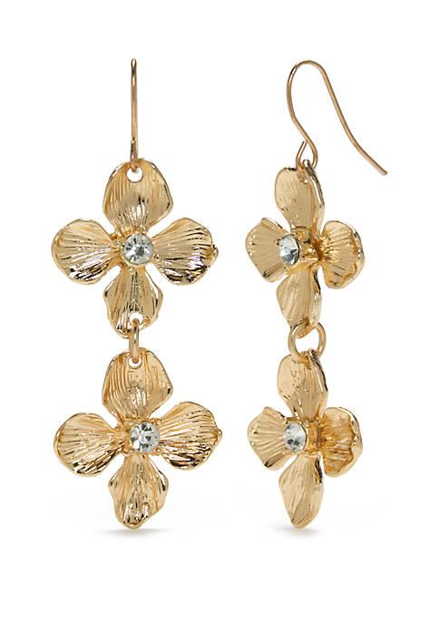 Gold-Tone Double Drop Flower Earrings