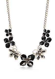 Gold-Tone Flower Statement Necklace