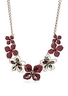 Gold-Tone Flower Statement Necklace