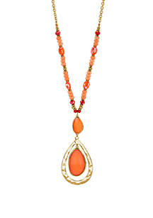 Long Chain and Bead Cabochon Orbital Pendant Necklace