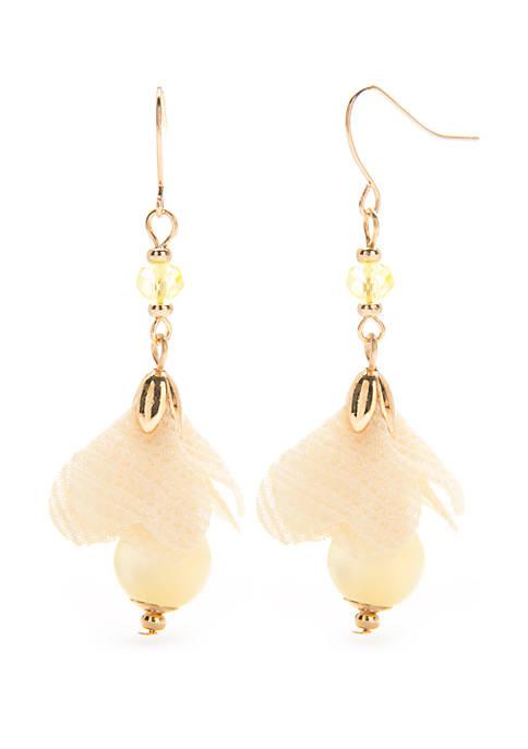 New Directions® Gold Tone Linear Flower Drop Earrings