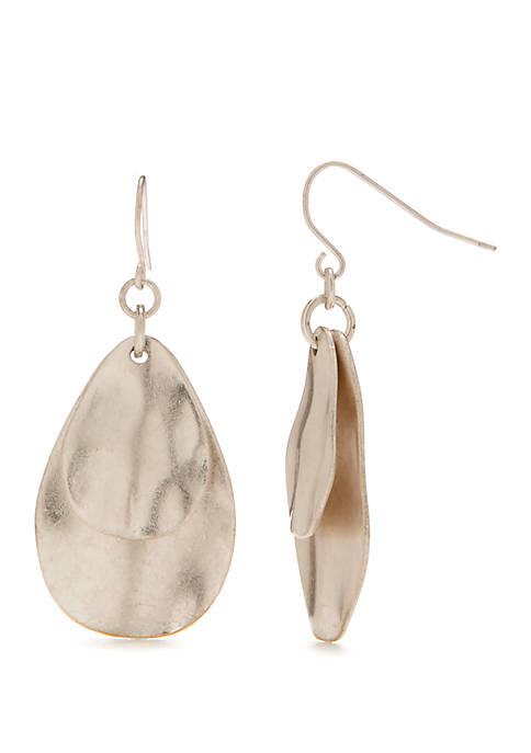Double Drop Organic Teardrop Earrings