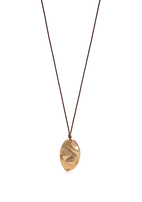 Large Oval Pendant Necklace on Leather