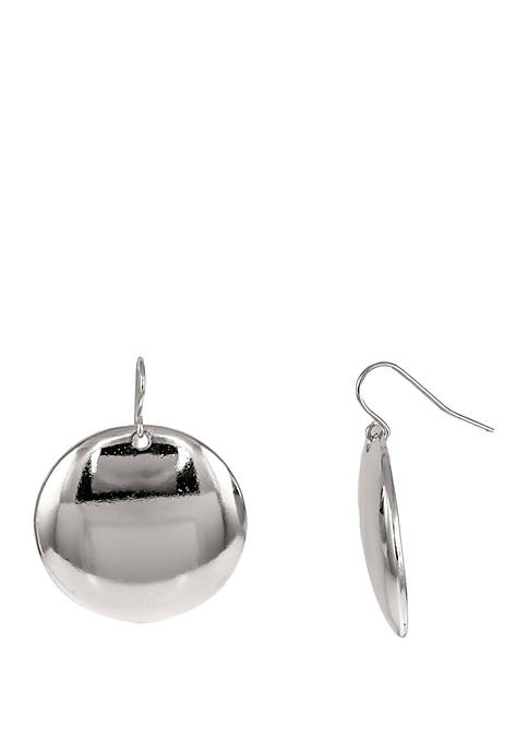 Round Disc Drop Earrings