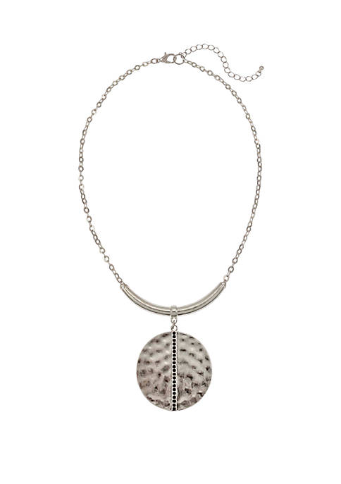 Round Hammered Disc Pendant Drop with Stone Accent