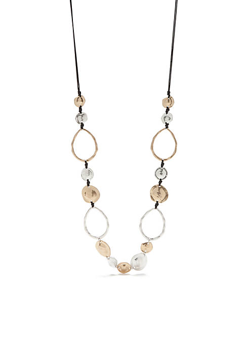 Two-Tone Casual Metals Open Linked Long Necklace