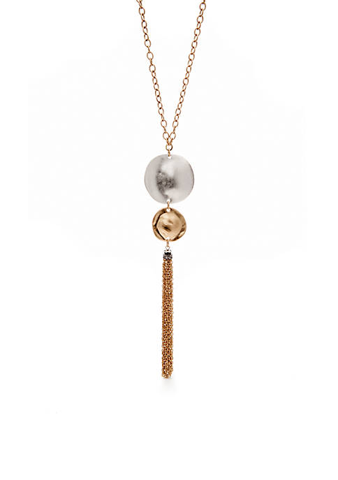 New Directions® Two-Tone Casual Metal Long Tassel Pendant