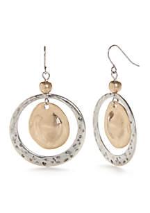 Two-Tone Casual Metal Open Ring Drop Earrings
