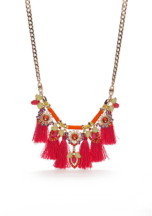 Gold-Tone Taste Of The Tropics Fringe Statement Necklace