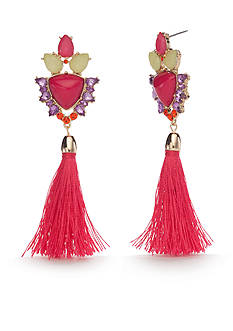 New Directions® Gold-Tone Taste Of The Tropics Tassel Statement Earrings