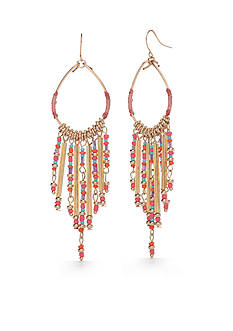 New Directions® Gold-Tone Coral Tassel Gypsy Hoop Earrings