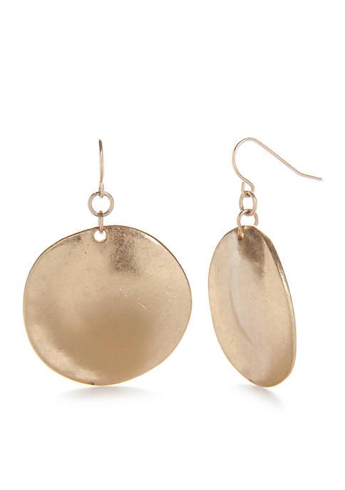 Gold-Tone Casual Metals Disc Drop Earrings