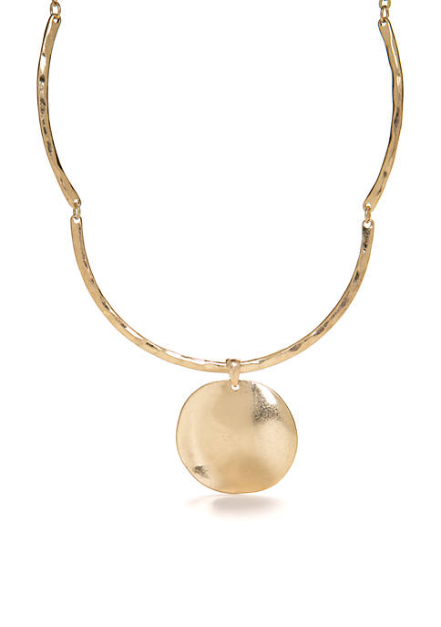 Gold-Tone Round Disc Drop Collar Necklace