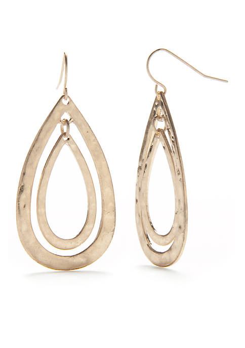Gold-Tone Casual Open Teardrop Earrings