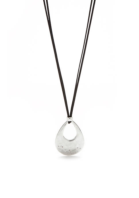 New Directions® Silver-Tone Open Teardrop Pendant Necklace