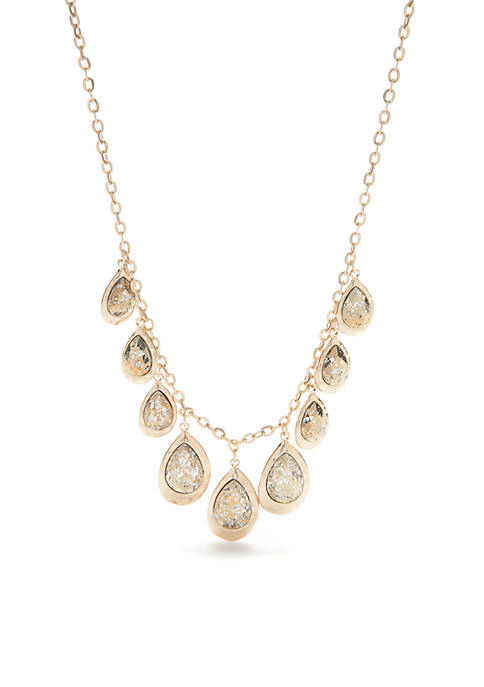 Gold-Tone Teardrop Charms Necklace