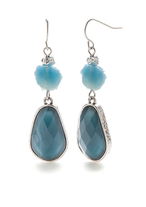 New Directions® Silver-Tone Stone Double Drop Earrings