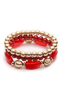 Gold-Tone Lapis and 3 Row Beaded Stretch Bracelet