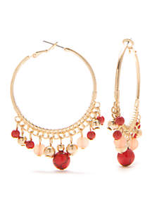 Gold-Tone Lapis and Coral Large Beaded Hoop Earrings