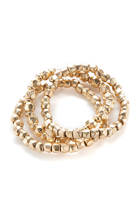 Gold-Tone 3 Row Beaded Stretch Bracelet