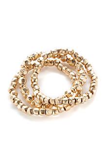New Directions® Gold-Tone 3 Row Beaded Stretch Bracelet