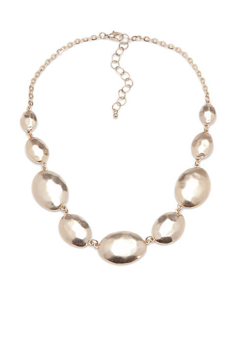 Gold-Tone Casual Metal Stone Disc Collar Necklace