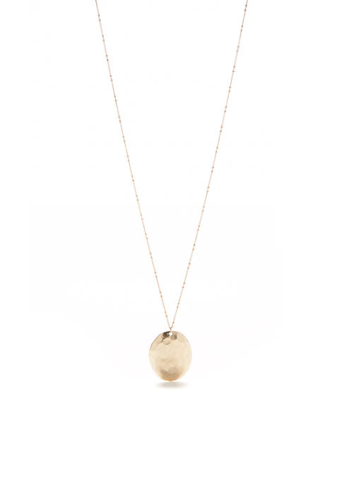 New Directions® Gold-Tone Casual Metal Stone Disc Pendant