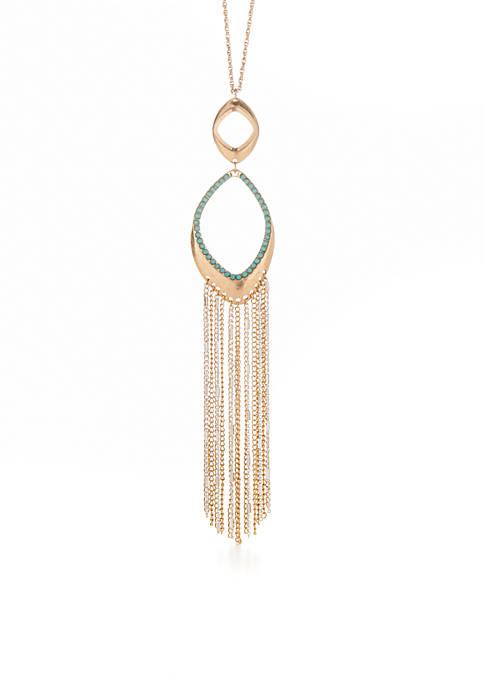 Modern Turq Two-Tone Long Double Pendant Tassel Necklace