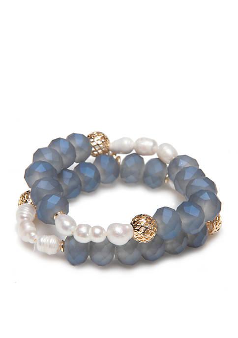 Gold-Tone Freshwater Two Row Stretch Bracelet