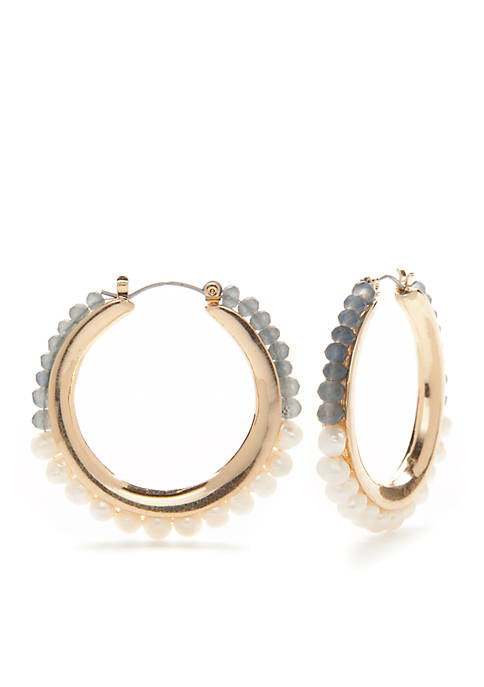 Gold-Tone Freshwater Beaded Hoop Earrings