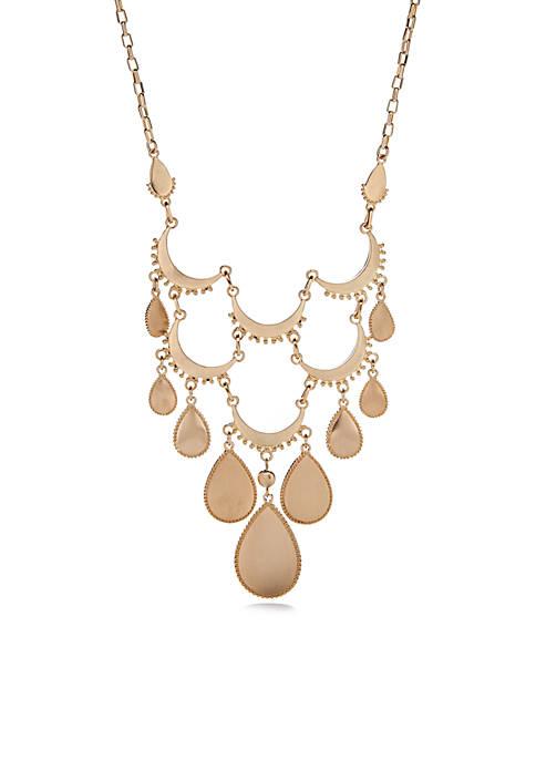 Gold-Tone Teardrop Statement Necklace