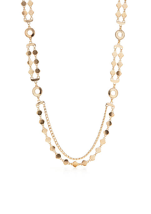 Palms And Sun Shower Gold-Tone Two Row Long Necklace