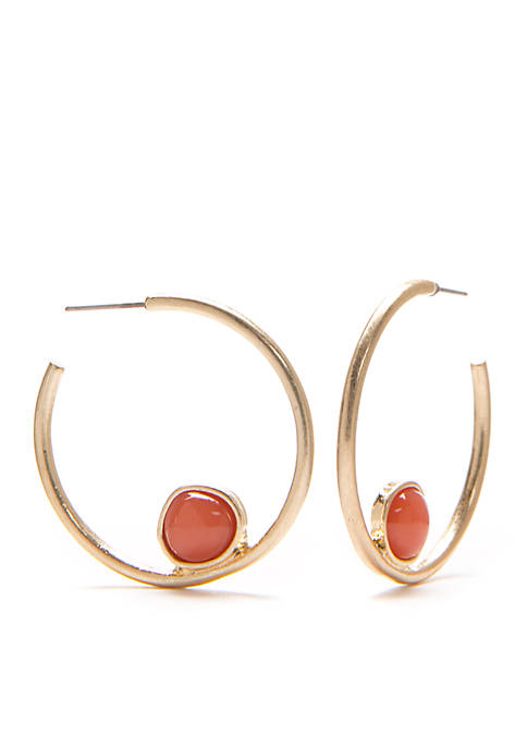 Gold-Tone Lapis and Coral Post Hoop with Stone Earrings