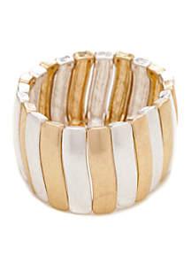 Two-Tone Link Stretch Bracelet