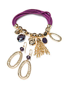 Gold-Tone Stretch Bracelet and Earring Set