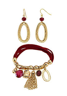3-Piece Gold-Tone Bracelet and Earring Set
