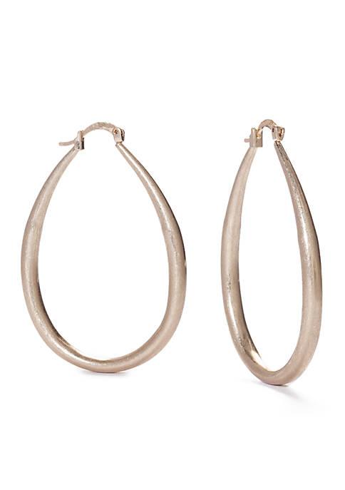 Gold-Tone Medium Elongated Hoop Earrings