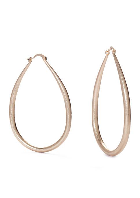 Gold-Tone Elongated Hoop Earrings