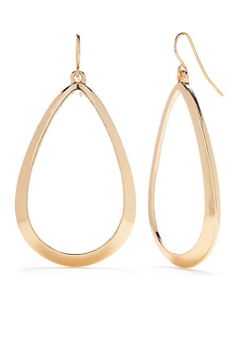 Large Gold Open Teardrop Earrings