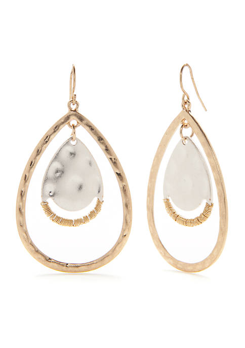 New Directions® Two-Tone Teardrop Orbital Earrings