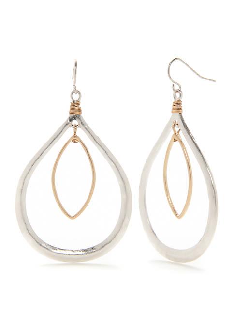 Belk Two-Tone Oval Orbital Teardrop Earrings