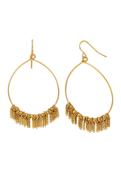 Belk Gold Tone Large Hoop with Chain Fringe