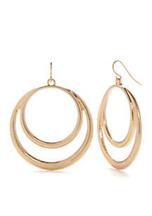 Double Ring Drop Earrings